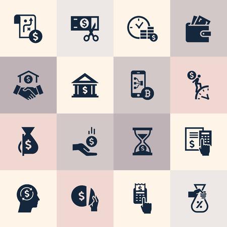 Satz flacher Designkonzeptikonen für Finanz-, Bank-, Geschäfts-, Zahlungs- und Geldgeschäfte. Symbole für Infografiken, Website-Entwicklung und Mobiltelefondienste und Apps.