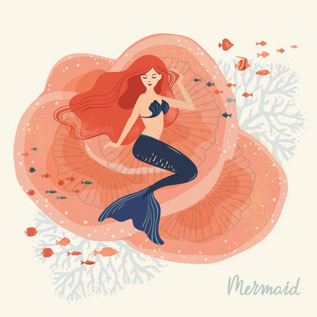 A vector illustration of a mermaid sitting on corals at the bottom of the ocean with various elements of marine life. Illustration with lettering. The life of mermaids under water.