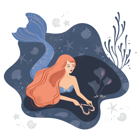 Vector illustration of a mermaid in love on the seabed with long hair and sea elements such as stars, shells, algae, corals and others.