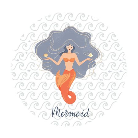Circular vector illustration of a meditating mermaid with flowing hair at the bottom of the ocean with shells in her hands. Against the background of the marine pattern. Mermaid lettering.