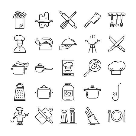Satz von klaren Liniensymbolen mit verschiedenen Küchenutensilien und kochenden Gegenständen isoliert auf weißem Hintergrund. Vektorgrafik