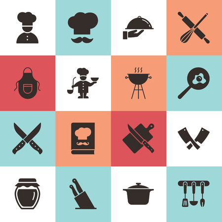Set of clean icons featuring various kitchen utensils and cooking related objects isolated on white background.