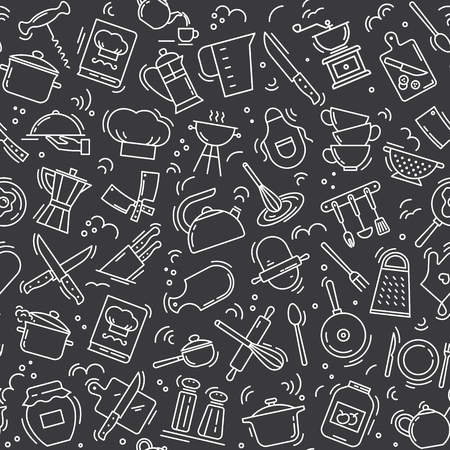 The seamless pattern on the kitchen theme with a variety of kitchen items on black background. Background for menu design, kitchen items, and other things. Illustration