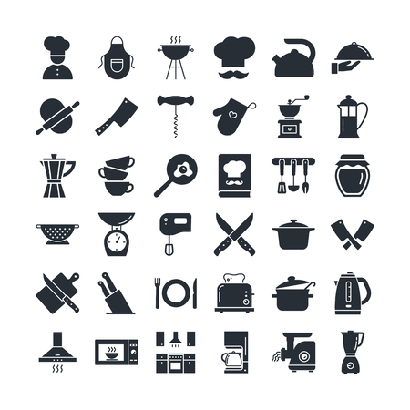 Set of clean icons featuring various kitchen utensils and cooking related objects isolated on black background. Çizim