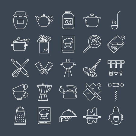 Set of clean line icons featuring various kitchen utensils and cooking related objects isolated on black background.