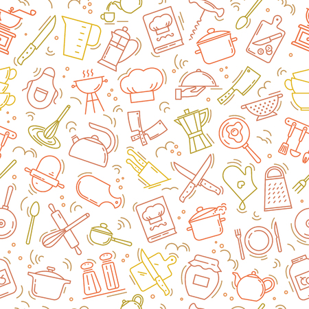 The seamless multi-colored pattern on the kitchen theme with a variety of kitchen items. Background for menu design, kitchen items, and other things.