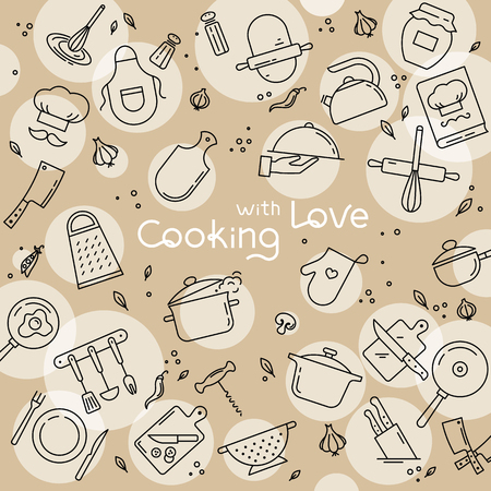 Background from icons on the theme of kitchen and cooking with lettering cooking with love. Background for the decoration of the menu of restaurants and cafes. Çizim