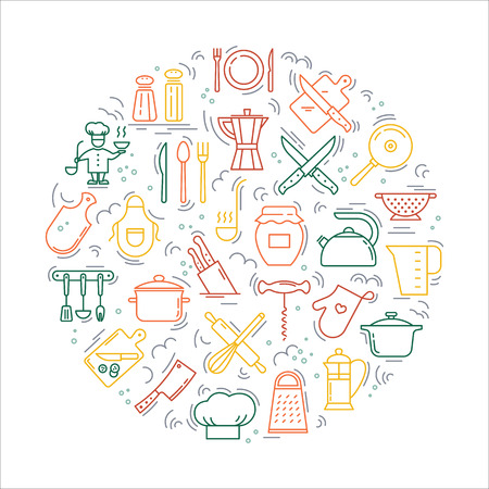 Cooking with love circular Background from icons on the theme of the kitchen and cooking. Background for the decoration of the menu of restaurants and cafes. Çizim