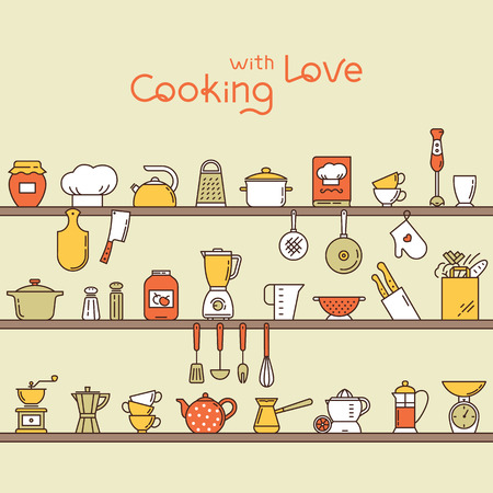 Seamless horizontal pattern with kitchen shelves full of various kitchen items and tools from colorful icons made in a flat style.