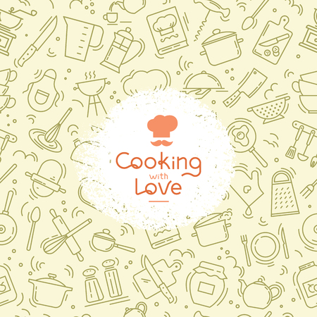 The seamless pattern on the kitchen theme with a variety of kitchen items. Background for menu design, kitchen items, and other things. Çizim
