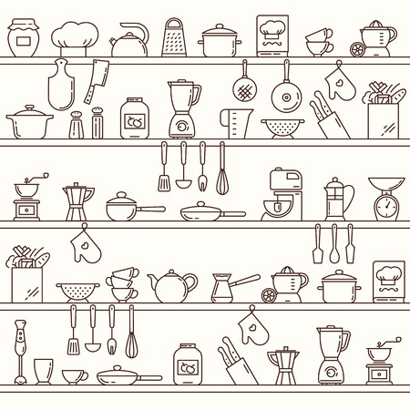 Seamless horizontal pattern with kitchen shelves full of various kitchen items and tools from icons made in a line style.