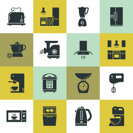 Set of clean icons featuring various kitchen utensils and cooking related objects isolated on various background. Illustration