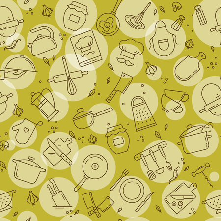 An original seamless pattern on the kitchen theme with a variety of kitchen items. Colorful Background for menu design, kitchen items, and other things.