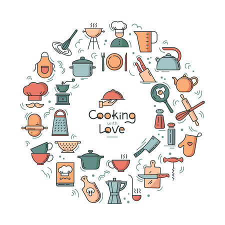 Cooking with love circular Background from icons on the theme of the kitchen and cooking with lettering. Background for the decoration of the menu of restaurants and cafes. Çizim