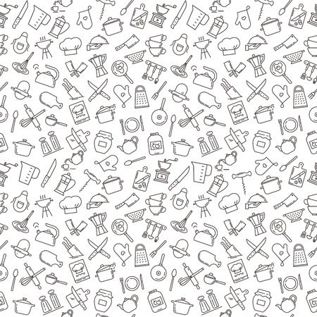 A large seamless pattern on the theme of the kitchen with various elements of the kitchen, cooking tools, utensils, and devices. Background for menu design, kitchen items, and other things.