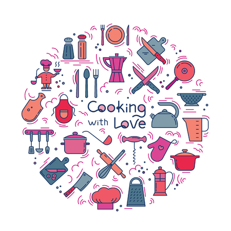 Cooking with love circular Background from icons on the theme of the kitchen and cooking with lettering. Background for the decoration of the menu of restaurants and cafes. Vector Illustratie