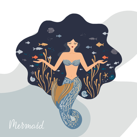Vector illustration of a meditating mermaid with flowing hair at the bottom of the ocean with fish in her hands. Against the background of the marine pattern. Mermaid lettering. Imagens