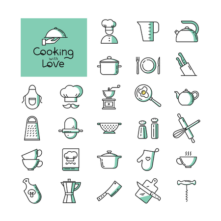 Set of pixel-perfect two colors kitchen icons in the line style isolated on the white background. With lettering of cooking with love. Well tracked items of kitchen appliances. Ilustração