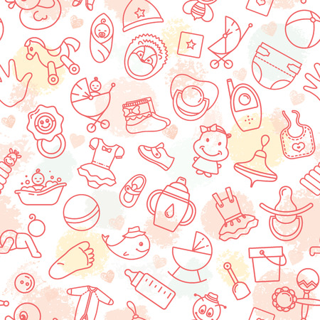 Colorful of seamless pattern of children toys and various children elements in pink. The pattern consists of linear children icons. Stock Photo