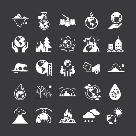 Set of vector icons on the theme of ecology, global warming and ecology problems of our planet as a whole. Different variants of environmental icons in flat style isolated on black background.