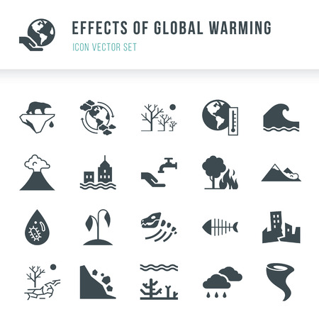 Set of global warming icons. Natural disasters caused by climate change. Effects of global warming icon vector set in flat style isolated on white background. Reklamní fotografie - 119988836