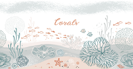 Seamless horizontal pattern with corals, algae, fish, and starfish. Flat icons with sea plants and symbols. Set of color vector illustrations. Standard-Bild