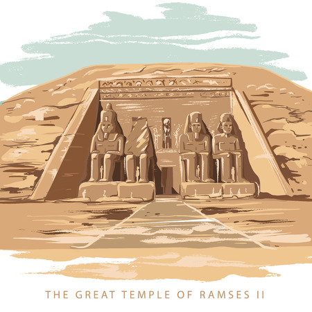 Colorful vector illustration the great temple of Ramses 2 hand drawn in white background. The Great Temple at Abu Simbel, Egypt.