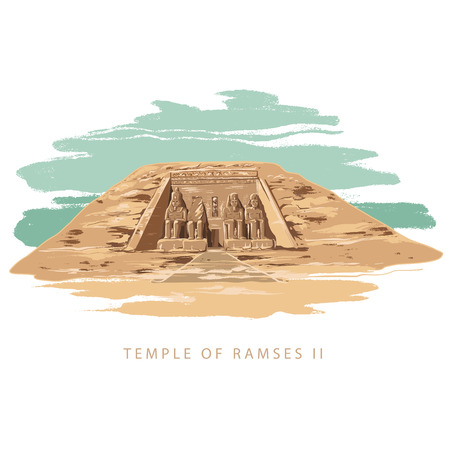 The Great Temple at Abu Simbel, Egypt. Colorful vector illustration the great temple of Ramses 2 hand drawn in white background.