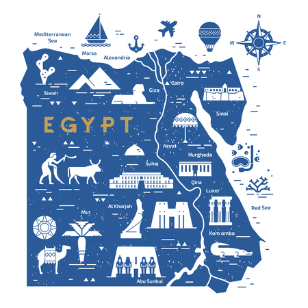 Outline and silhouette map of Egypt - vector illustration hand drawn with lines, isolated on background with icons symbols attractions of Egypt. Çizim
