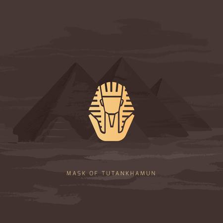 Burial Mask Illustration Egyptian golden pharaohs mask icon flat isolated on white background vector illustration. Egyptian pharaohs mask Tutankhamun line icon. King Tutankhamun. Illustration