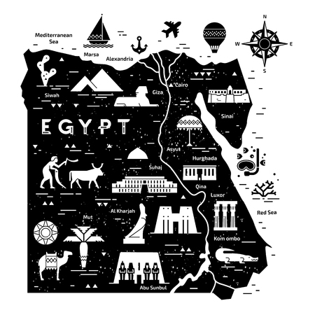 Outline and silhouette map of Egypt - vector illustration hand drawn with black lines, isolated on background with icons symbols attractions of Egypt.