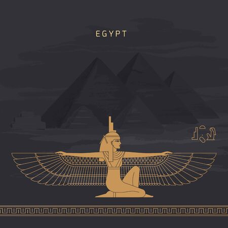 Vector illustration Egyptian fertility goddess Isis isolated on hand-drawn background from Egyptian pyramids, symbol of femininity and marital fidelity, goddess of navigation, daughter of Hebe and Nut