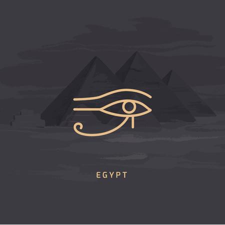 Ilustración vectorial del icono de Udjat también el ojo de Ra o el ojo de Horus, el ojo de halcón izquierdo del dios Horus aislado sobre un fondo vectorial de las pirámides egipcias hechas a mano.