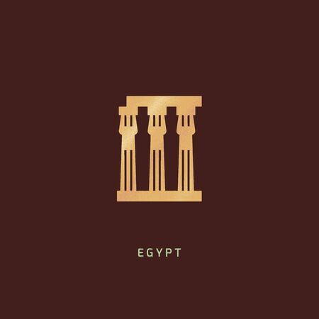 Isolated vector icon of Luxor Temple - the ruins of the temple of Amun-Ra, on the right bank of the Nile, in the southern part of Thebes, within the modern city of Luxor. Иллюстрация