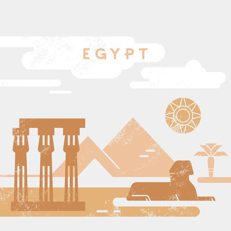 Outline and silhouette of Egypt - vector illustration hand drew with lines, isolated on background with icons symbols attractions of Egypt.  イラスト・ベクター素材