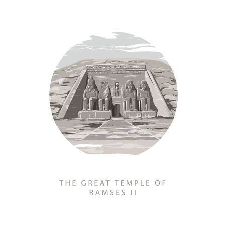 The Great Temple of Ramses 2 at Abu Simbel, Egypt. Gray tone vector illustration in circular the great temple of Ramses 2 hand drawn in white background.  イラスト・ベクター素材