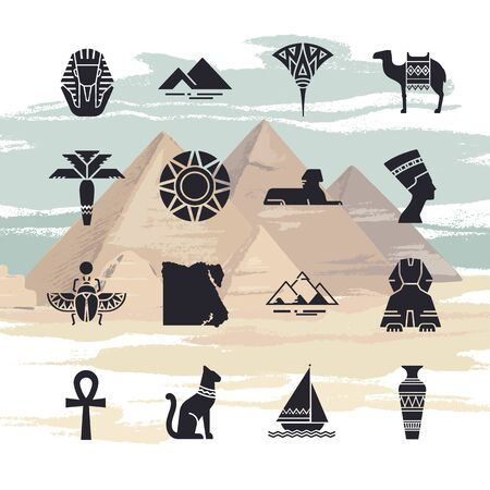 A large vector set of filled icons on the theme of the landmarks of Egypt, isolated on a background drawn by hand from the pyramids of Giza.