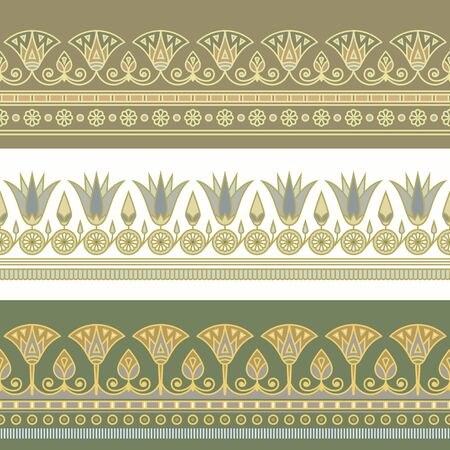 Seamless vector illustration of Egyptian national ornament with a lotus flower on white and green background. Standard-Bild - 129241190