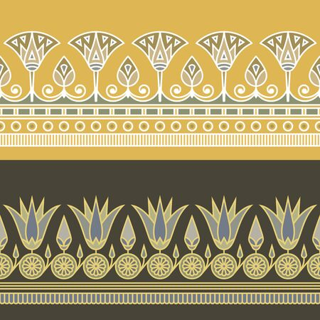 Seamless vector illustration of Egyptian national ornament with a lotus flower on yellow and dark background.