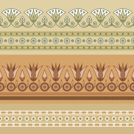Seamless vector illustration of Egyptian national ornament with a lotus flower on beige background.