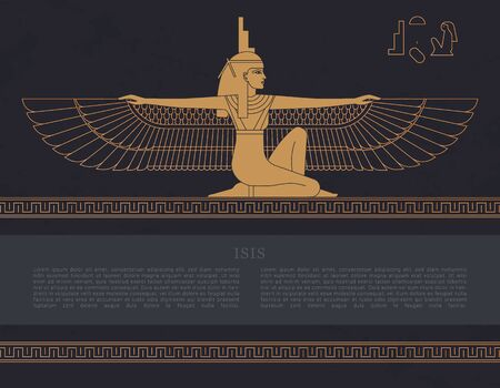 Vector design template Egyptian fertility goddess Isis isolated on the hand-drawn background from Egyptian pyramids, a symbol of femininity and marital fidelity, goddess of navigation. Banque d'images - 129241192