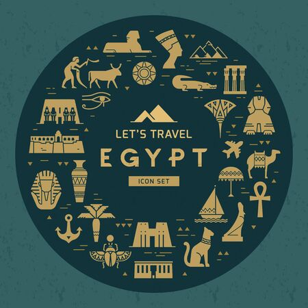 Circular design pattern of filled icons on the theme of sights and symbols of Egypt with place for text. Sights and symbols of Egypt. Imagens