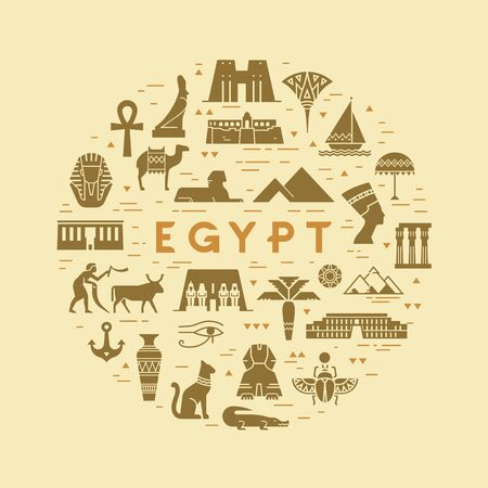 Vector circular concept of icons on the theme of sights and symbols of Egypt with space for text. All icons are isolated on the background and drawn with a flat style.