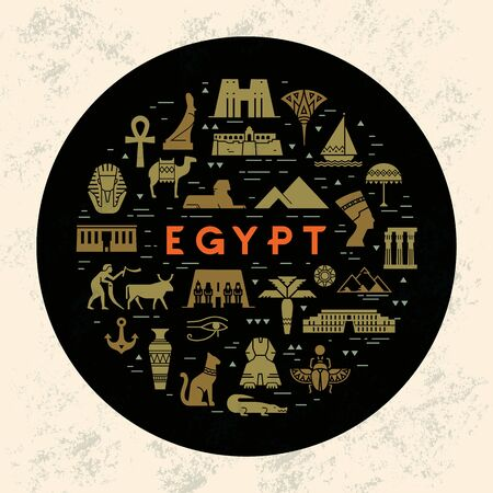 A round design concept template filled with icons on sights and symbols of Egypt. Landmarks and symbols of Egypt in a flat style isolated on a black background. With space for text. Imagens