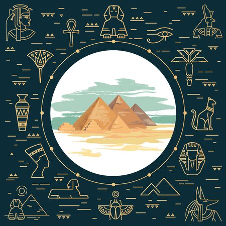 Colorful vector illustration of the pyramid of Giza, Egypt hand-drawn and landmarks icons in linear style isolated on background. Egypt tourist poster.
