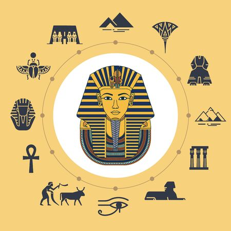 Vector illustration of Tutankhamen masks with various icons of sights and symbols of Egypt isolated on background. Set of icons around illustration drawn in flat style. Imagens