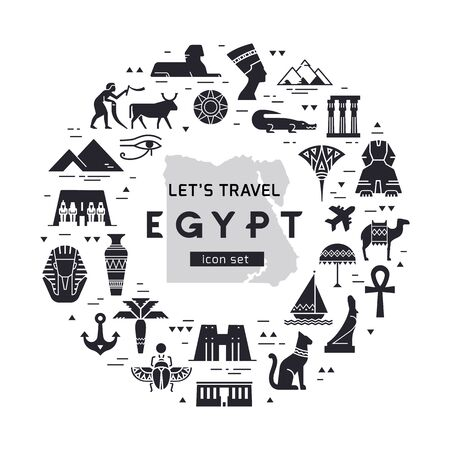 Black and white circular design pattern of filled icons on the theme of sights and symbols of Egypt with place for text. Sights and symbols of Egypt.
