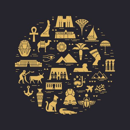 Circular design pattern of filled icons on the theme of sights and symbols of Egypt. Sights and symbols of Egypt.