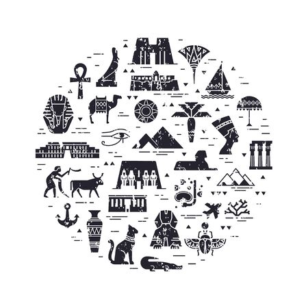 Monochrome circular design pattern of filled icons on the theme of sights and symbols of Egypt. Sights and symbols of Egypt in flat style isolated in white background. Imagens