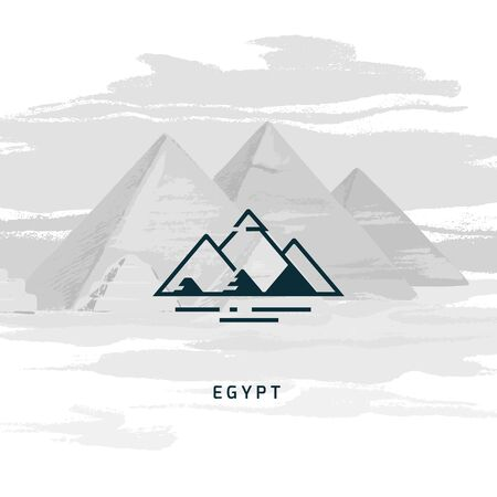 Vector icon of the most famous symbol of Egypt - the pyramid. Egyptian pyramids icon isolated on the vector image of the same pyramids. Ilustração